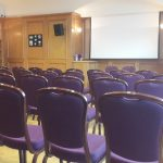 Theatre style set up in Antrim Suite with projector for meetings